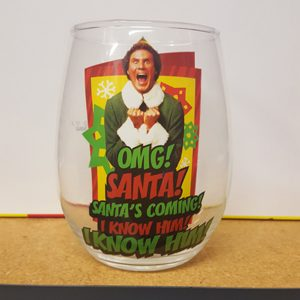 Elf OMG SANTA Stemless Wine Glass