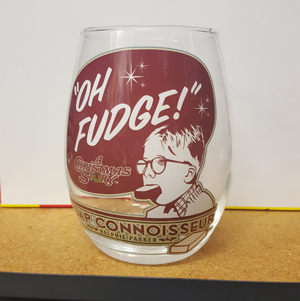 "A Christmas Story ""Oh Fudge"" Stemless Wine Glass"