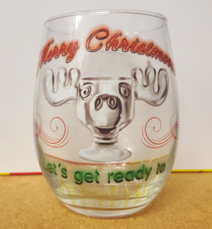 Christmas Vacation Moose Mug Stemless Wine Glass