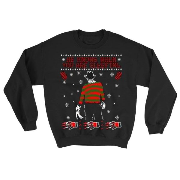 A Nightmare On Elm Street Sleeping Christmas Sweatshirt