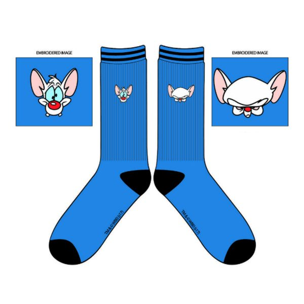 Animaniacs Embroidered Pinky & Brain Crew Socks