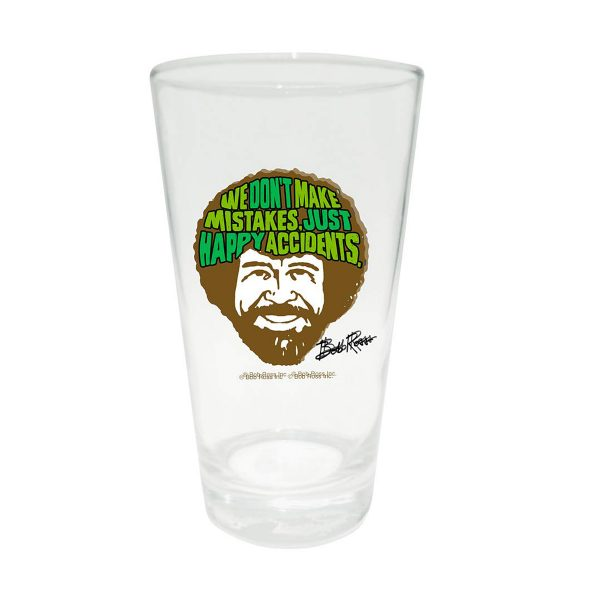 Bob Ross Happy Accidents Pint Glass