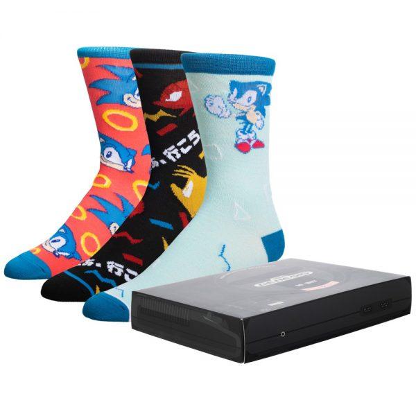 Sonic 3pk Socks Sega Gift Box