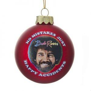 Bob Ross Happy Accidents Glass Bulb Ornament