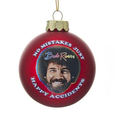 Bob Ross Happy Accidents Glass Bulb Ornament