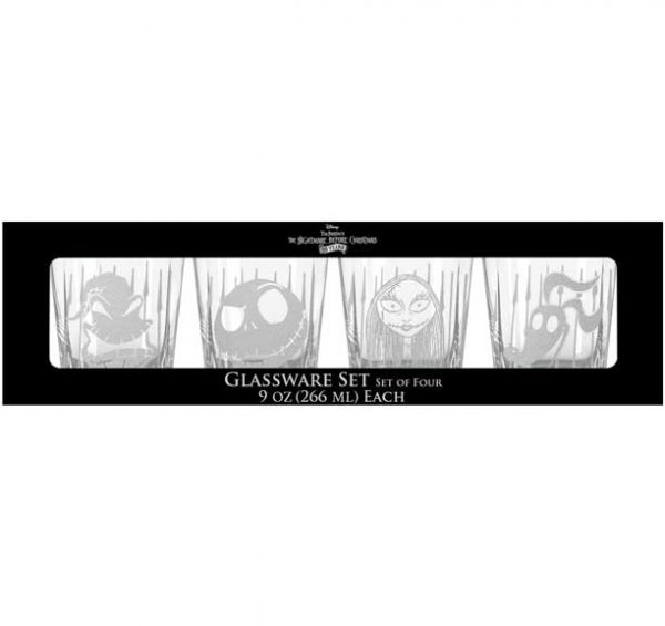 Nightmare Before Christmas 4pc Etched Rock Glass Set