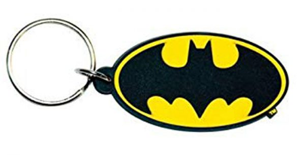 Rubber keychain that features the bat symbol from Batman.