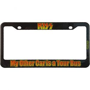 Kiss Other Car is Tour Bus License Plate Frame