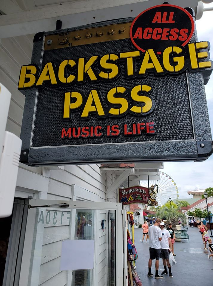 Backstage Pass store sign